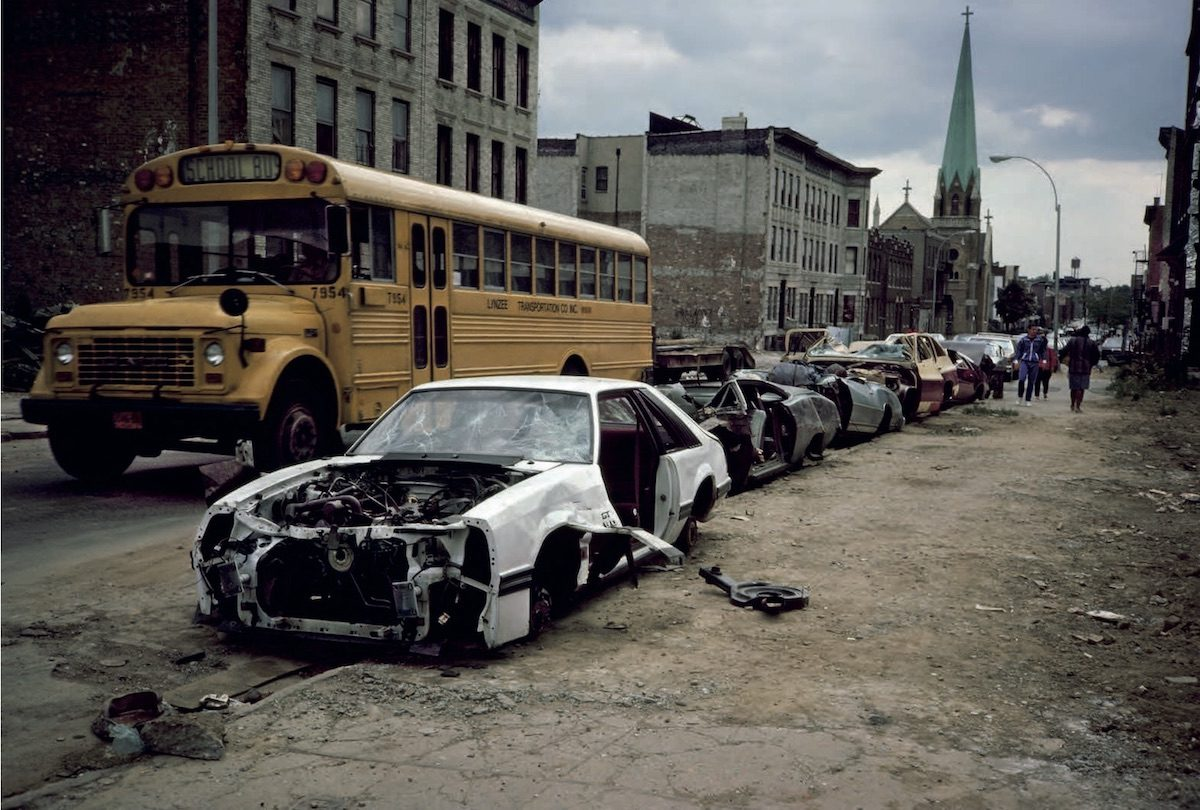 School Bus and Curbside Crushed Cars Palmetto St., Bushwick, Brooklyn, NY. May 1985