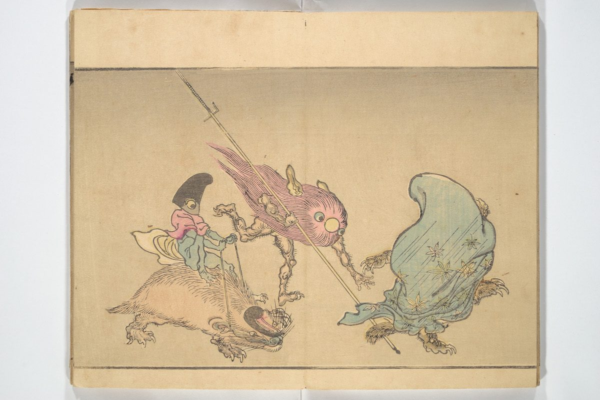 Kawanabe Kyosai (Japanese, 1831–1889) Kyosai Pictorial Record of One Hundred Goblins (Kyosai hyakki gaden), 1890 Japan, Meiji period (1868–1912) Woodblock printed book (orihon, accordion-style); ink and color on paper; 7 13/16 × 4 3/4 in. (19.8 × 12 cm) The Metropolitan Museum of Art, New York, Mary and James G. Wallach Family Foundation Gift, 2013 (2013.767) http://www.metmuseum.org/Collections/search-the-collections/78669