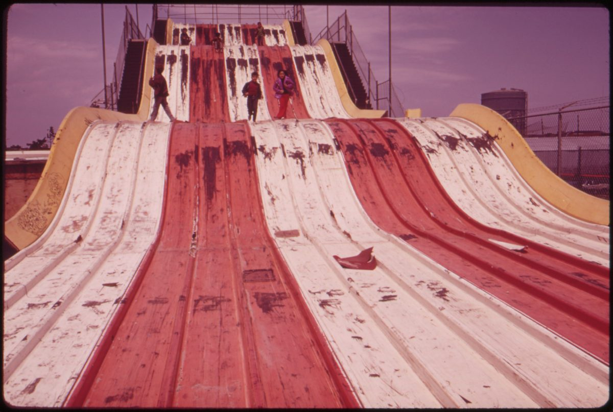 """Abandoned """"Giant Slide"""" at Coney Island Marks Decline of Area's Recreational Use 05/1973"""