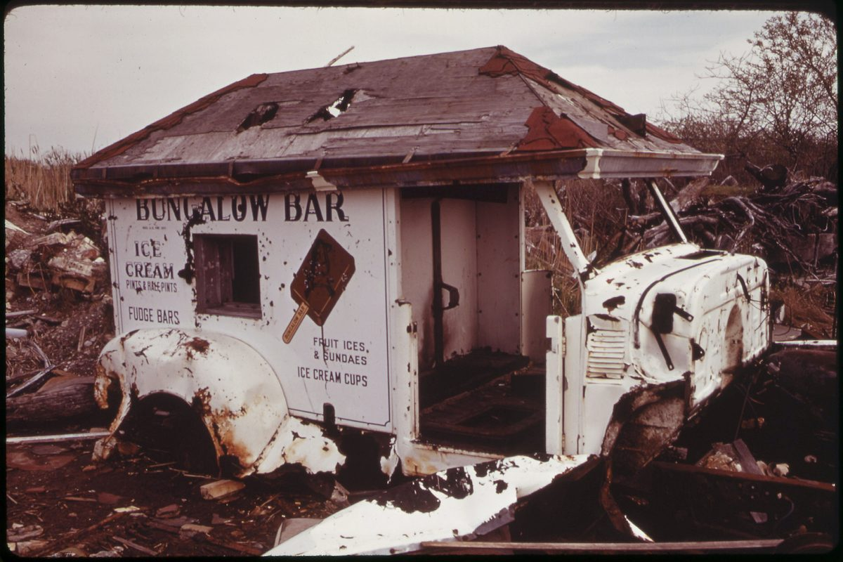 Abandoned Ice Cream Wagon at Broad Channel in Jamaica Bay 05_1973
