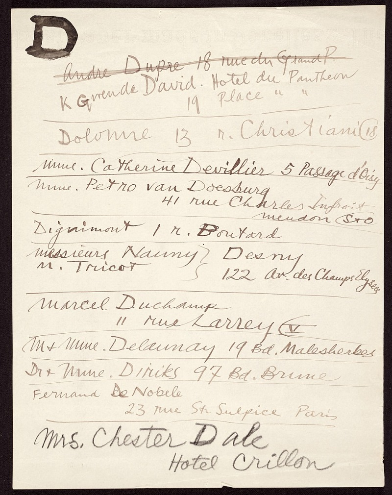 Address list of Calder's friends and associates in Paris, France. Only selected pages have been scanned. Citation Alexander Calder. Address list, ca. 1926-38. Alexander Calder papers, 1926-1967. Archives of American Art, Smithsonian Institution.