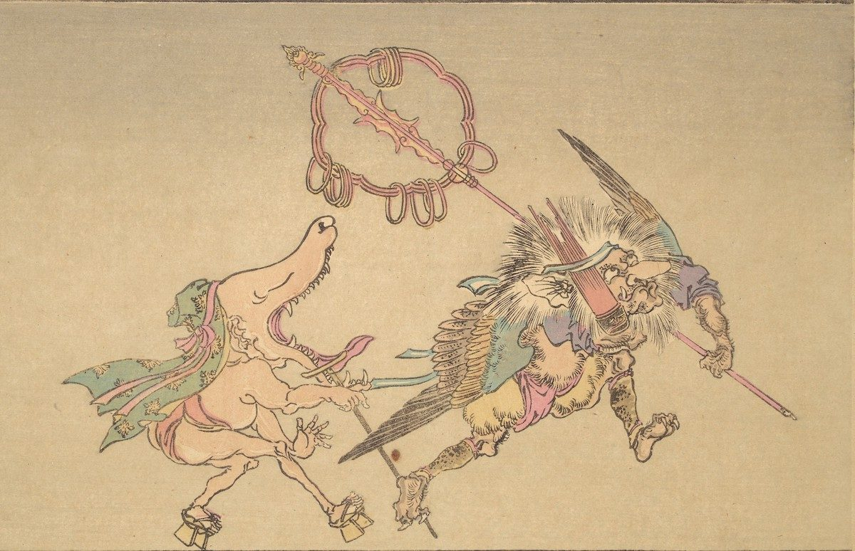 At right, a demon with a large nose and wings (tengū) carries panpipes (shō) and a pilgrim's staff. His servant follows in wooden clogs (geta), with a wolf-like head and gaping mouth.