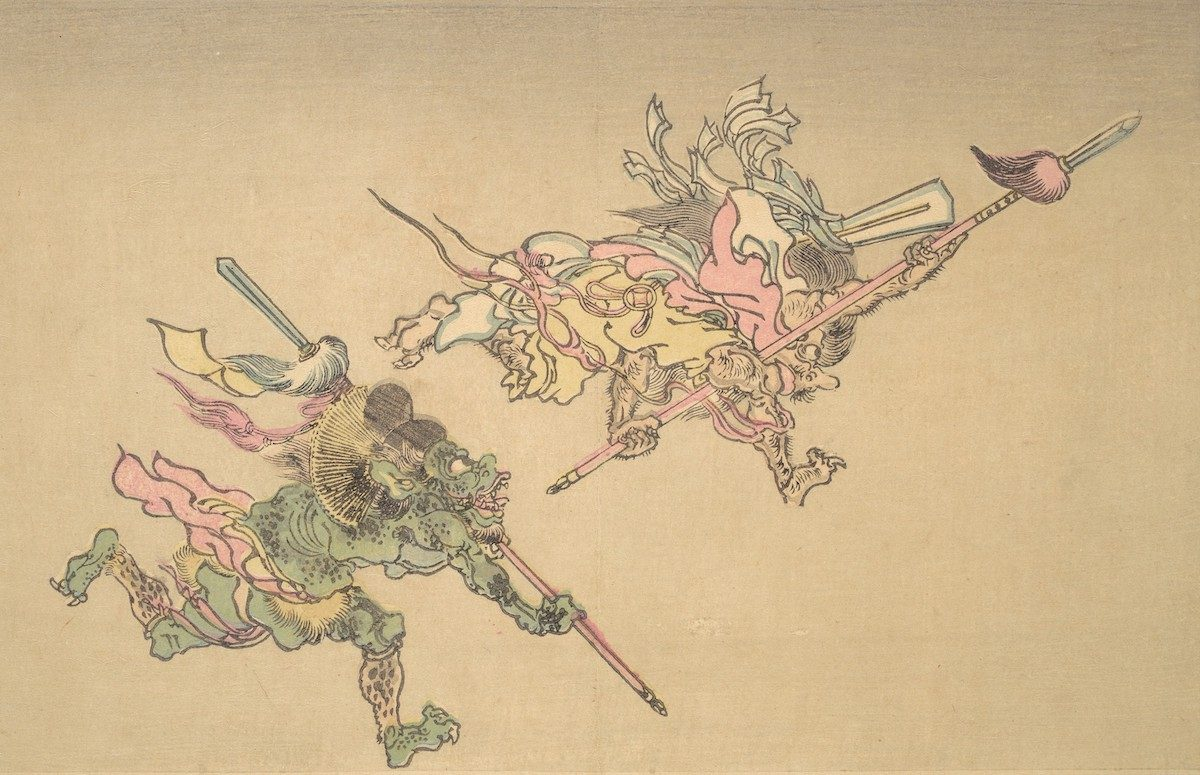 At right, a monster grips a feathered spear. An ogre follows, wearing a nobleman's cap (eboshi) and carrying a similar spear.