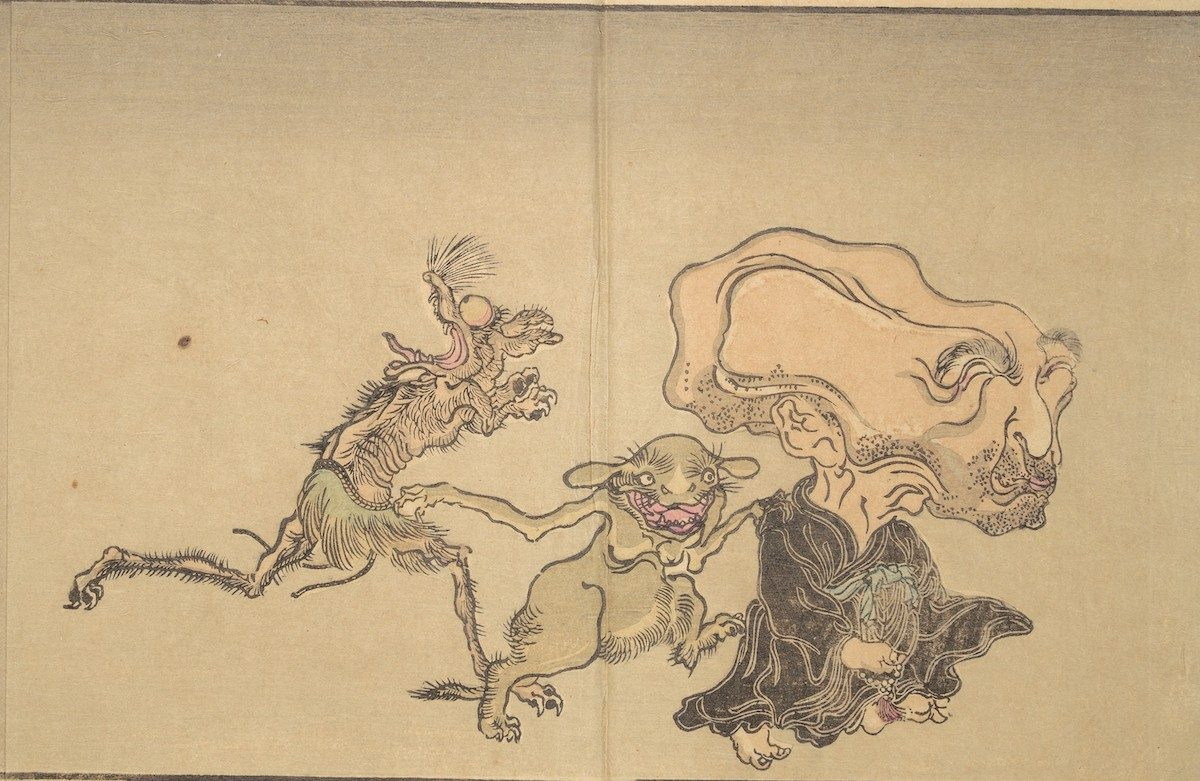 At right is the demon Nurarihyon, in the guise of an old man with a huge head and Buddhist rosary. He is followed by rodent-like monsters.