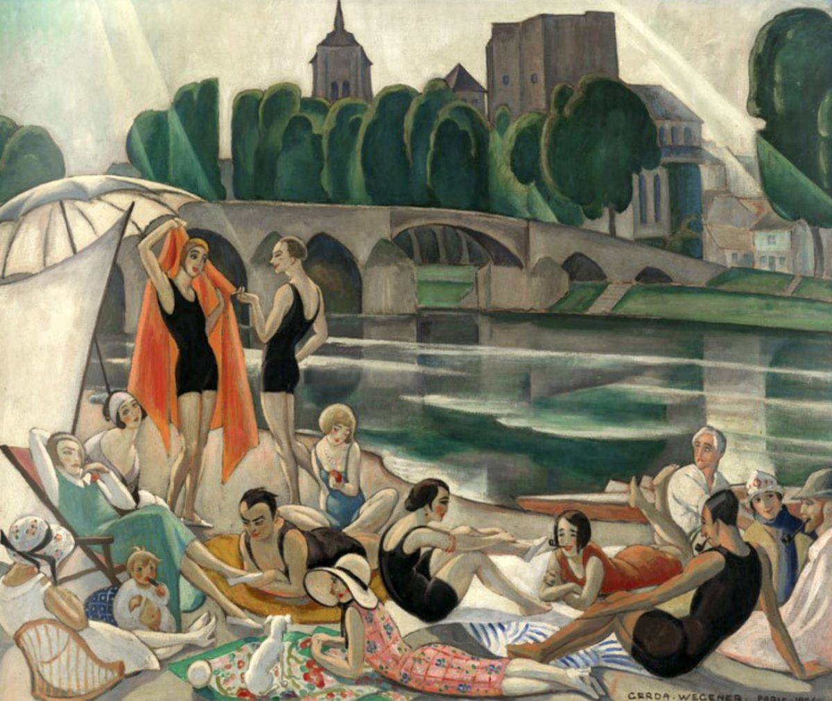 Gerda Wegener (1885-1940) On the banks of the Loire (the artists' colony at Beaugency) Paris, 1926