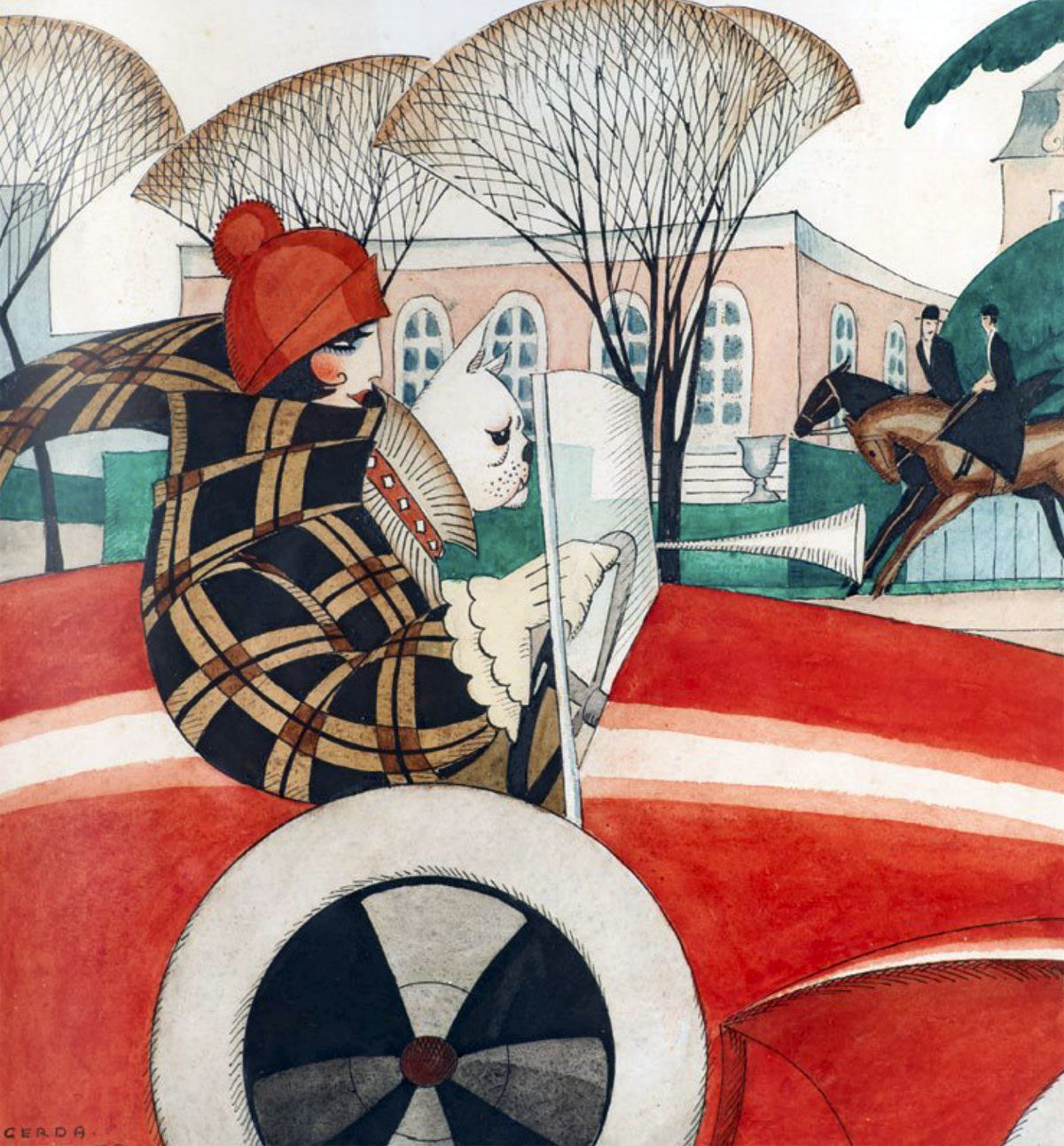 Girl and pug in an Automobile (sketch for front page illustration in Vore Damer, 1927) c. 1927