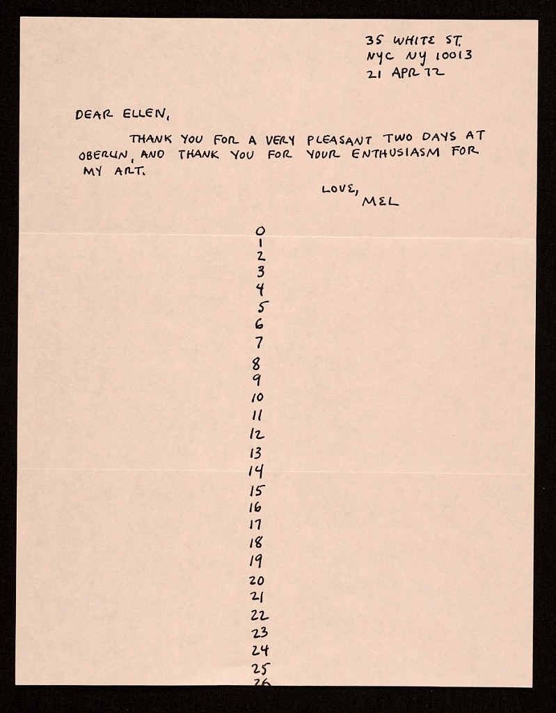 """In his letter, conceptual artist Mel Bochner thanks Ellen Johnson for her support of his artwork and for """"a pleasant two days"""" spent at Oberlin College in Ohio. Citation Mel Bochner. Mel Bochner, New York, N.Y. letter to Ellen H. Johnson, 1972 Apr. 21. Ellen Hulda Johnson papers, 1872-2018. Archives of American Art, Smithsonian Institution."""