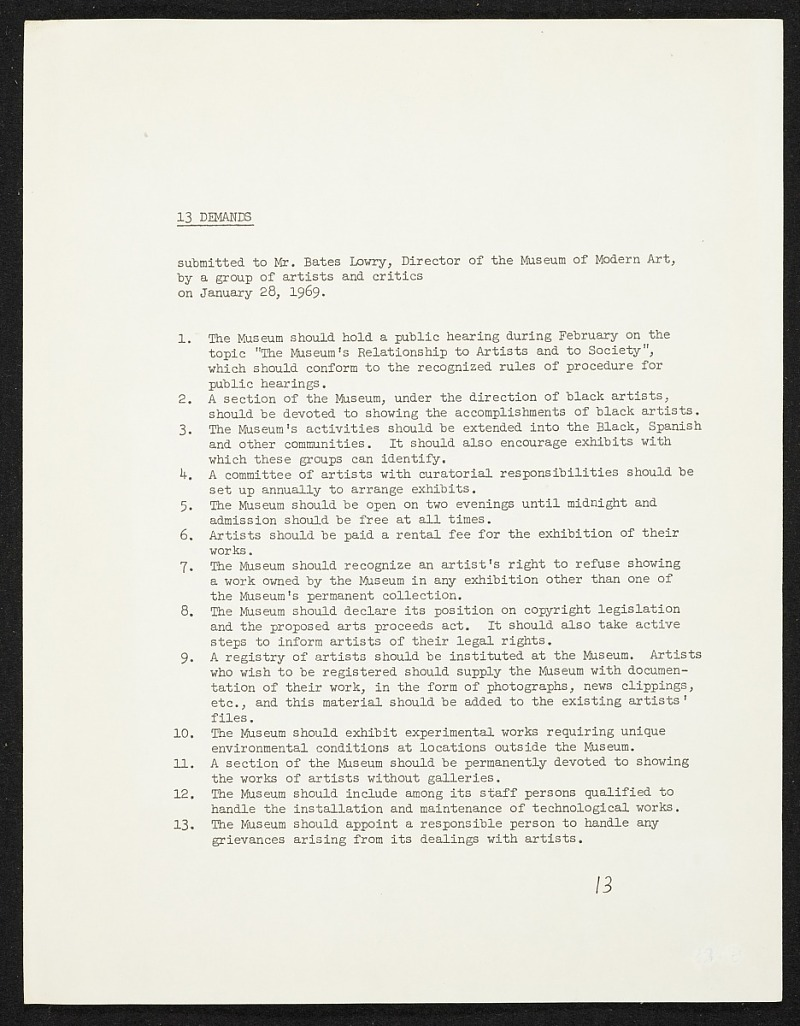 Memo submitted to Bates Lowry, director of the Museum of Modern Art