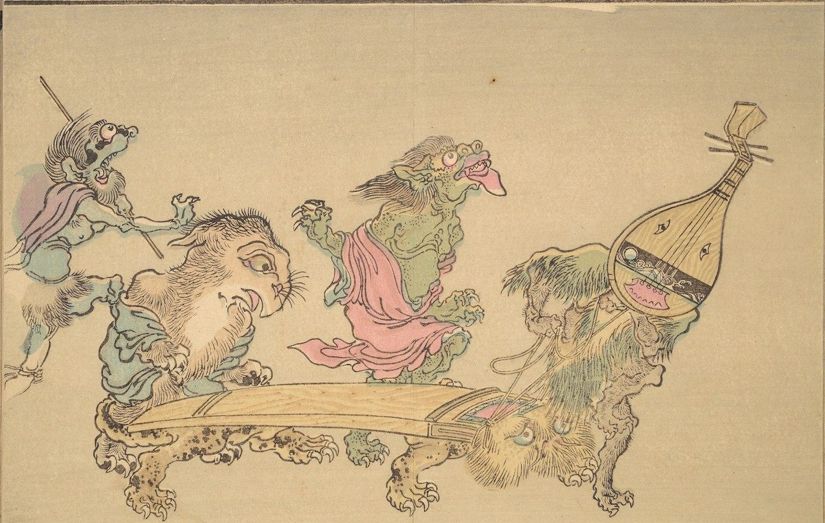 Musical instruments, a lute (biwa) and zither (koto), appear as monsters.