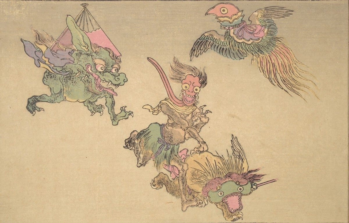 A helmet for a court dance (bugaku), a chime (kei), ritual scepter (nyoi), and a folding fan turn into flying and running demons.