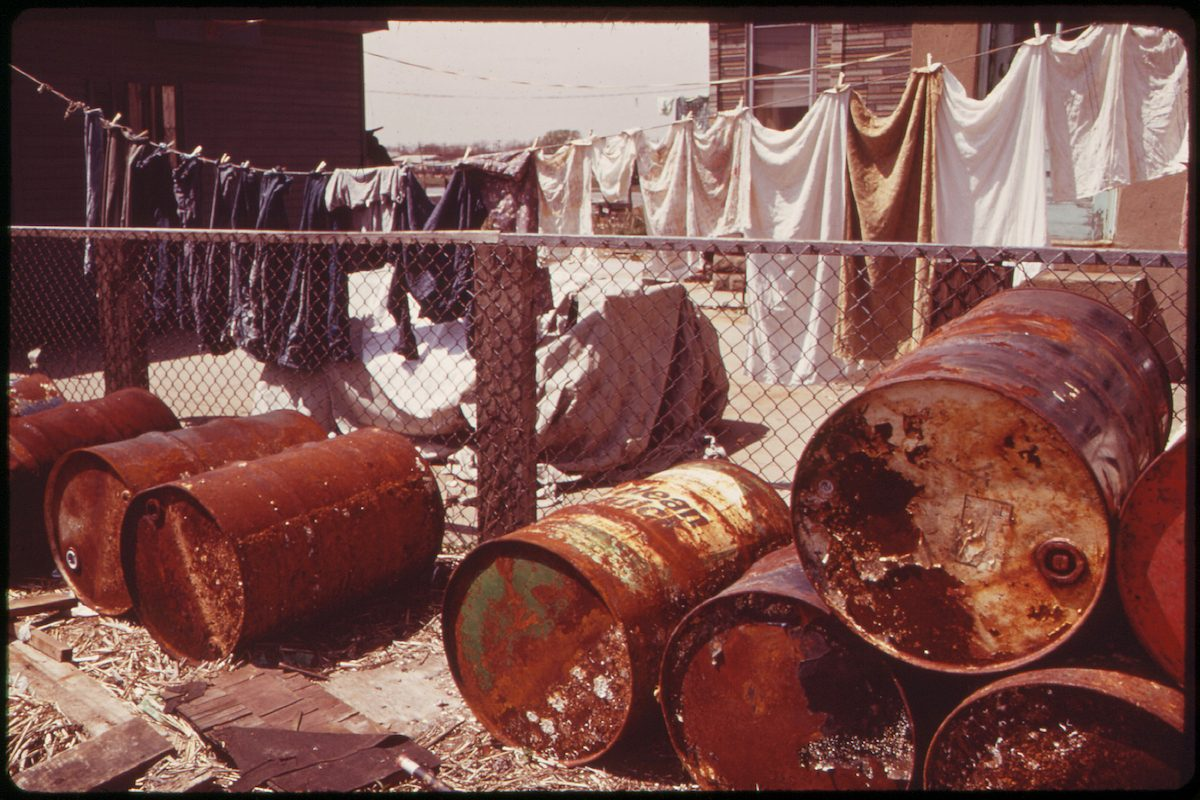 Rusty Oil Cans Pile Up near Home in Broad Channel, a Jamaica Bay Community with Numerous Pollution Problems 05/1973