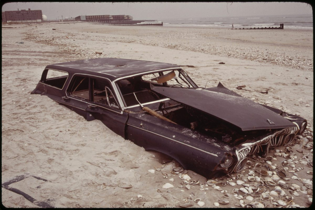 Sand Covers Abandoned Car on Beach at Breezy Point South of Jamaica Bay 05_1973