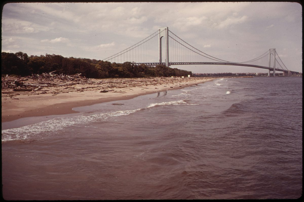 The Verrazano-Narrows Bridge Crosses New York Bay and Connects Staten Island and Brooklyn 06/1973 by Arthur Tress