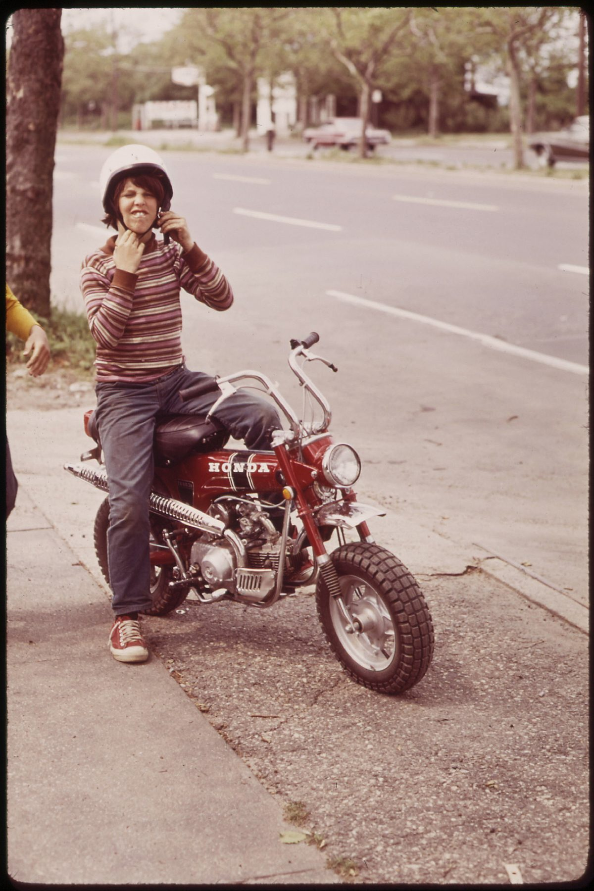 Young New Yorker Ready to Roar Off on His Honda 06_1973