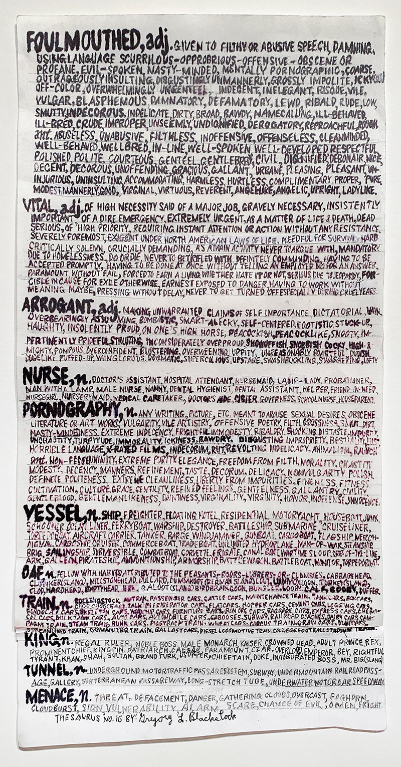 THESAURUS #16 (FOULMOUTHED), 2020 Ink and permanent marker on paper